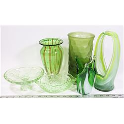FLAT OF HEAVY GREEN DECOR GLASS.