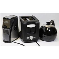 SUNBEAM TOASTER, BLACK & DECKER COFFEE GRINDER AND