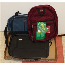 LOT OF 2 LAPTOP BAGS AND NEW OUTBOUND BACK PACK