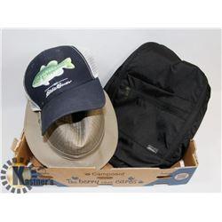 EDDIE BAUER FISHING HAT,SHOULDER BAG AND