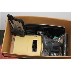 BOX WITH TIME CLOCK SYSTEM, KEYBOARD, PHONE, AND