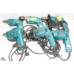 GROUP OF 6 ASSORTED MAKITA POWER-DRILLS