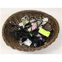 BASKET OF PHONE CHARGERS