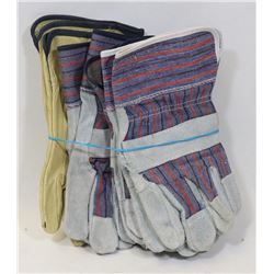 5 PAIRS LEATHER WORK GLOVES