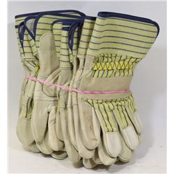6 PAIRS LEATHER WORK GLOVES