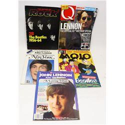 LOT OF 5 JOHN LENNON/BEATLES MAGAZINES