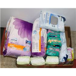 LARGE FLAT OF ASSORTED TENA AND ALWAYS PADS