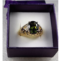 14)  OLIVE GREEN OVAL  CZ PERIDOT RING SET IN