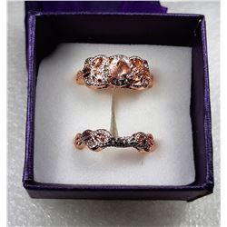 13)  18K ROSE GOLD FILLED 2 PCE MORGANITE