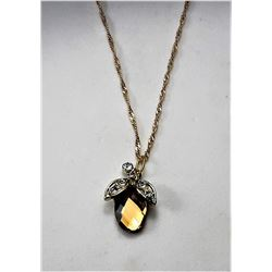 17) AMBER BRIOLETTE CUT & CLEAR CRYSTAL