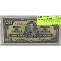10)  CANADIAN 1937 KING GEORGE $20.00 BILL