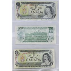 LOT OF 3- 1973 $1 BANK NOTES