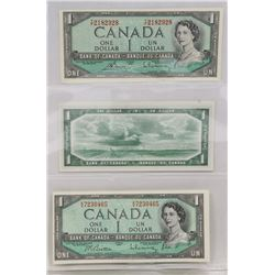 LOT OF 3 -1954 $1 BANK NOTES