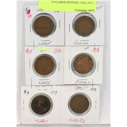 LOT OF 6 LARGE PENNIES, 1916, 1917, 1918,