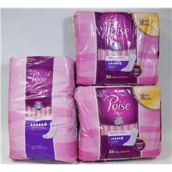 THREE PACKS OF POISE PADS