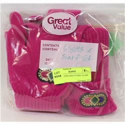 PINK GLOVES AND FUNNEL SCARF SET