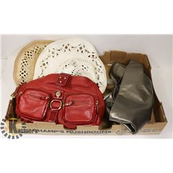 FLAT OF 2 NEW WOMEN HATS AND RED ORIGINAL LUCE BAG