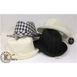 LOT OF 4 NEW HATS WITH TAGS