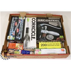 WINE OPENER, 1 CORCICKES, 3 ICE SHOT GLASS SETS,