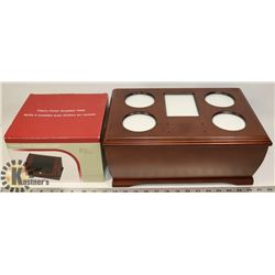 WOODEN JEWELLERY BOX & SUNGLASS VALET.