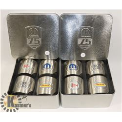 2 SETS OF 4 COLLECTIBLE 75 YEAR MOPAR STAINLESS