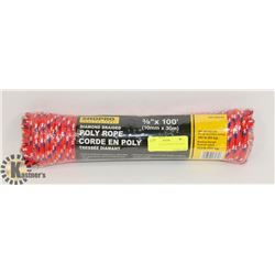 "NEW! 3/8"" X 100' DIAMOND BRAIDED POLY ROPE"