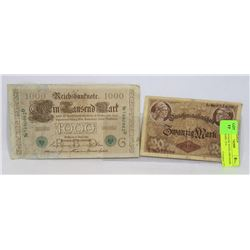 2 GERMAN BANK NOTES 1000 MARK 1910, 20 MARK 1914.