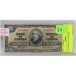 1937 CANADIAN $100 BILL