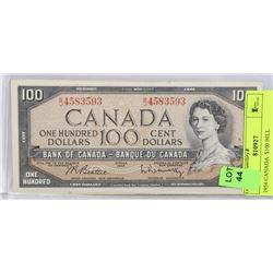 1954 CANADIAN $100 BILL