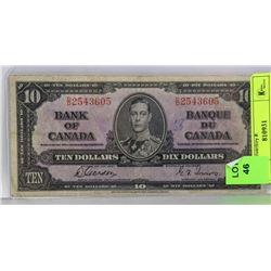 1937 CANADIAN $10 BILL