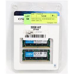 NEW CRUCIAL 32GB MEMORY KIT  -   DDR4  2400  2 X