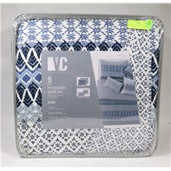 NEW VC 5 PC REVERSIBLE QUILT SET SIZE KING