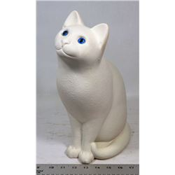 LARGE HEAVY WHITE CAT STATUE WITH BLUE EYES.