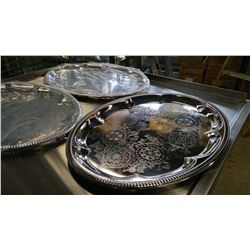 "18"" OVAL CHROME PLATED STEEL PLATTERS-LOT OF 3"