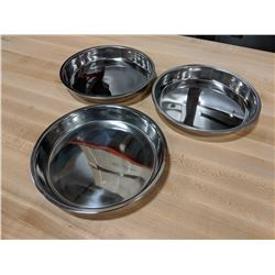 "9"" STAINLESS ROUND CAKE PANS - LOT OF 3"
