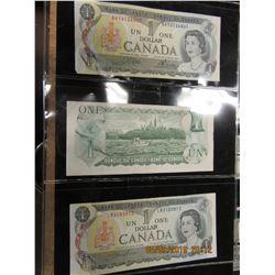 1973 STOCK SHEET CANADA $1 BILLS