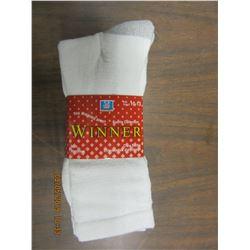 NEW - MEN'S WHITE SOCKS (3 PAIR) - PER PACKAGE