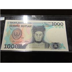 1987 MINT CONDITION 1000 BANK OF INDONESIA CURRENCY BANK NOTE