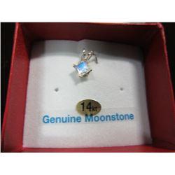 NEW - 14 KT WHITE GOLD 5MM GENUINE MOONSTONE PENDANT