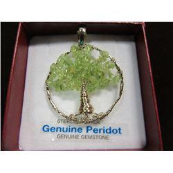 "NEW - BRASS GENUINE PERIDOT ""TREE OF LIFE"" PENDANT"