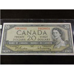 1954 BANK OF CANADA LEGAL TENDER $20 BILL