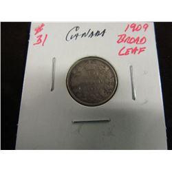 1909 BROAD LEAF KEY DATE KING EDWARD VII CANADA SILVER DOLLAR