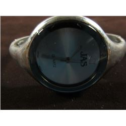 JAS SILVERTONE ROUND FACED BANGLE STYLE WATCH WITH NEW BATTERY
