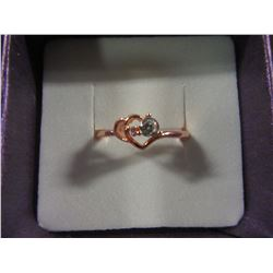 ROSE GOLD FILLED HEART RING WITH LAB CREATED WHITE SAPPHIRE