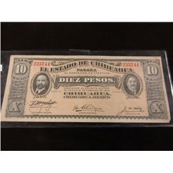 1914 BANK OF MEXICO $10 PESO CURRENCY BANK NOTE
