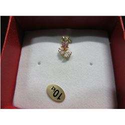 NEW - 10 KT YELLOW GOLD CZ FLORAL PENDANT
