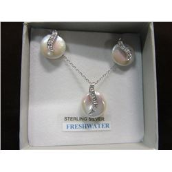 NEW - STERLING SILVER GENUINE FRESHWATER PEARL & CZ EARRINGS & PENDANT WITH CHAIN
