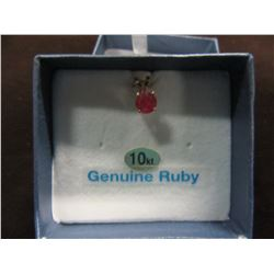 NEW - 14 KT YELLOW GOLD 5MM GENUINE RUBY SOLITAIRE PENDANT