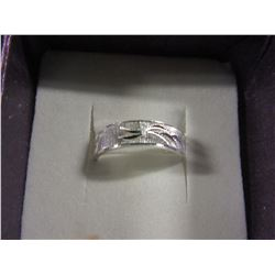 SILVERTONE ETCHED BAND STYLE RING