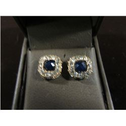 GOLDTONE WITH CLEAR & SAPPHIRE BLUE AUSTRIAN CRYSTAL STUD EARRINGS